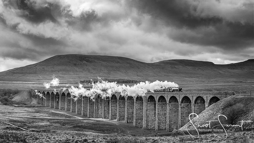 Flying Scotsman over Ribblehead Viaduct